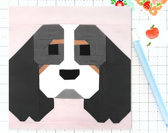 Cavalier King Charles Spaniel Dog Puppy Quilt Block PDF pattern-Instructions for 6 inch, 12 inch, 18 inch and 24 inch Finished Blocks