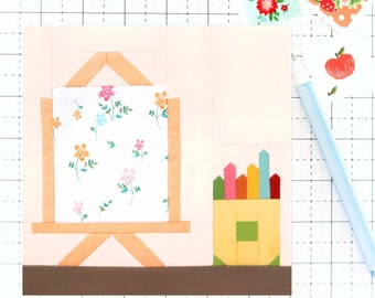 Artist Easel Colored Pencil Crayons Canvas Quilt Block PDF pattern - Includes instructions for 6 inch and 12 inch Finished Blocks