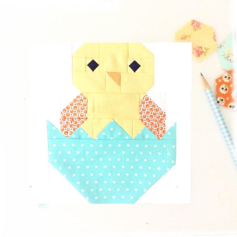 Baby Chick Bird Chicken Quilt Block PDF Instant Download Quilt image 0