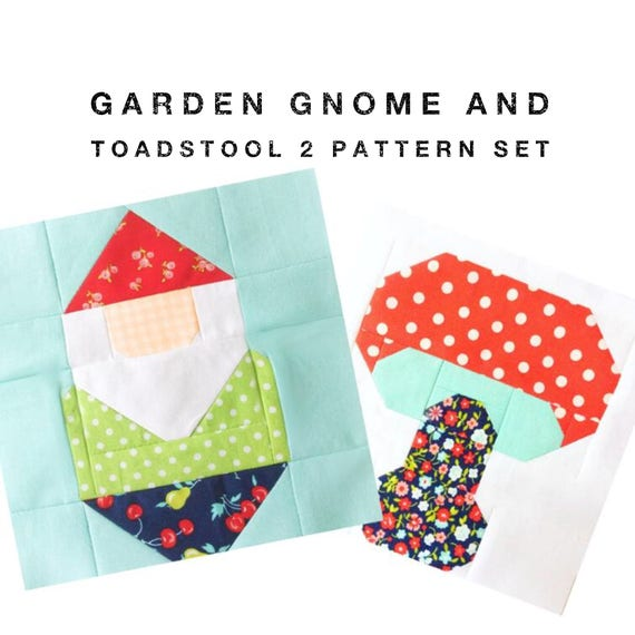 Set Of 2 Quilt Block Patterns Garden Gnome And Toadstool Etsy