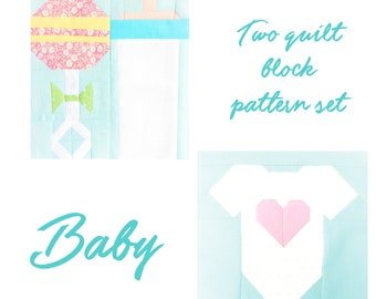 Set of 2 Quilt Block Patterns Baby Bottle Rattle and Baby Onesie Instructions for 6 inch and 12 inch blocks 15% Savings