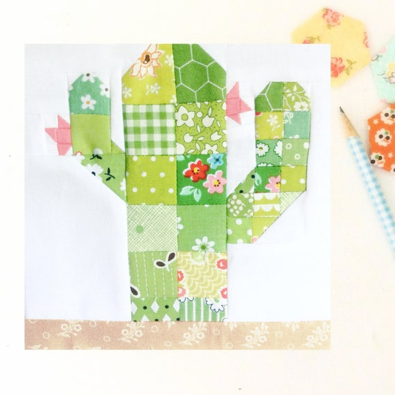 Scrappy Desert Cactus PDF Quilt Block Pattern Includes Etsy Delectable 12 Inch Quilt Block Patterns