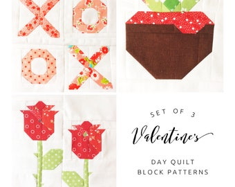 Set of 3 Valentine's Day Quilt Block Patterns Chocolate-Covered Strawberry, Fresh Roses, and XOXO Instructions for 6 & 12 inch 15% Savings
