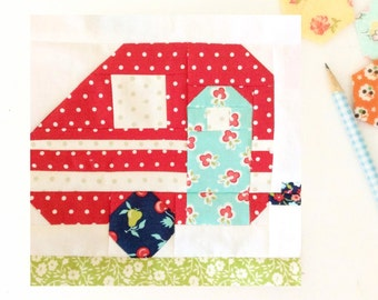 Vintage Camper Quilt Block PDF Instant Download Quilt Pattern 6 inch and 12 inch block instructions