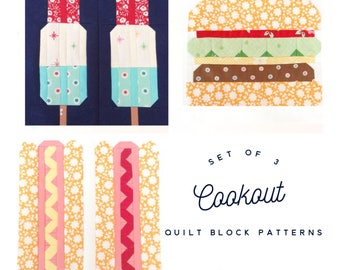 Set of 3 Cookout Quilt Block Patterns Hotdogs, Hamburger, and Popsicles Instructions for 6 & 12 inch 15% Savings