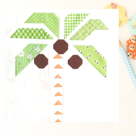 tropical palm tree pdf quilt block pattern includes etsy