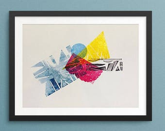 Abstract Colors Letterpress Poster