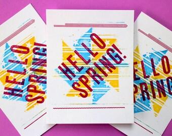 Spring Letterpress postcards - pack of 5