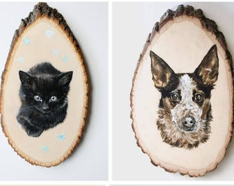 Pet Portrait Custom Original Painting Dog Cat Art On Live Edge Natural Wood Round Memorial