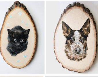 Pet Portrait Original Custom Painting Dog Cat Art On Live Edge Wood Round Memorial