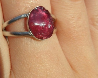#626m Unique silver sterling rough Ruby gem ring   gold plated   Bali handmade jewelry  silver 925  only size 10 available