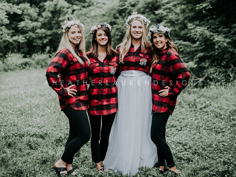 Bridal Party RED Flannel Shirt Bride/Wedding/Bridal party | Etsy