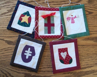 Set of FIVE Quilted Christmas Ornaments