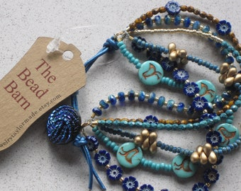 "NEW - Blue Hibiscus Flower & Leather Bracelet, Six Strands Stacked, Size 6""-8"", Blue, Turquoise, Gold, Mustard, Denim, #7"