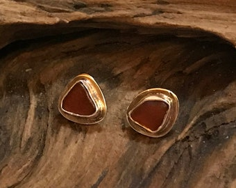 Sterling Silver Post Earrings With Brown Beachglass