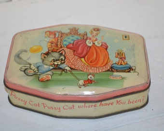 Garden Grow Mary Contrary Storage Child Room Decor Vintage Tin Box Nursery Rhyme by Horner Boy Blue Made in England GREAT CONDITION