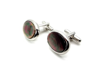 Sterling Silver Black Mother of Pearl and Crystal Banded Cufflinks