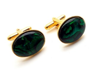Miniature Working Green Levels Vintage Cuff Links