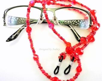 White /& Red Eyeglass Chain or Id Badge Lanyard
