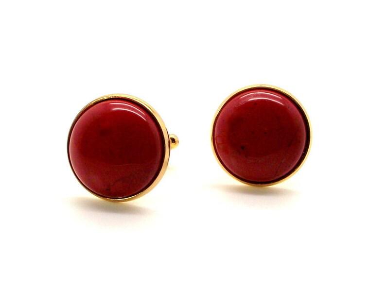 Gold Base 20mm Round Orange Red Cufflinks Red Cufflinks Red Jasper Cufflinks Big Red II