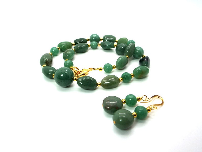 Green Necklace and Earring Set Green Aventurine Necklace and Earring Set