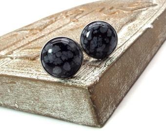 Black Cufflinks - Snowflake Obsidian Cufflinks - Black and Gray Stone Cufflinks 18mm Round