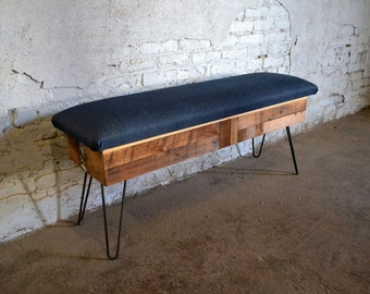 Reclaimed Pine Patchwork Storage Bench with Fabric Top
