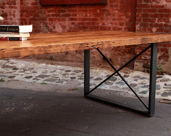 Reclaimed Wood and X-Frame Dining Table