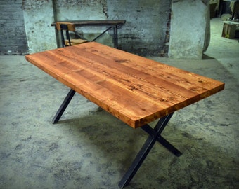 Reclaimed Wood X-Rod Dining Table