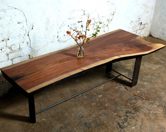 Reclaimed Walnut Wood Coffee Tables with Steel Base