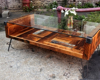 Reclaimed Wood & Tempered Glass Top Coffee Table