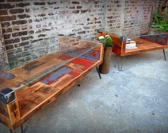 Reclaimed Wood & Wire Glass Coffee Table