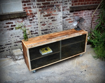 Reclaimed Wood Media Credenza with Removable Wire Glass Doors