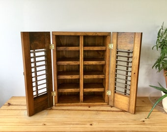Vintage Small Wood Cabinet With Shutters Louvered Doors / 10 Shelves