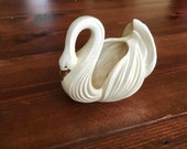 Vintage Ceramic Cream White Glazed Swan Centerpiece Vase Plant Holder Container Canister