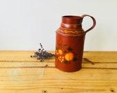 Vintage Farmhouse Hand painted Peaches Matel Pitcher Vase