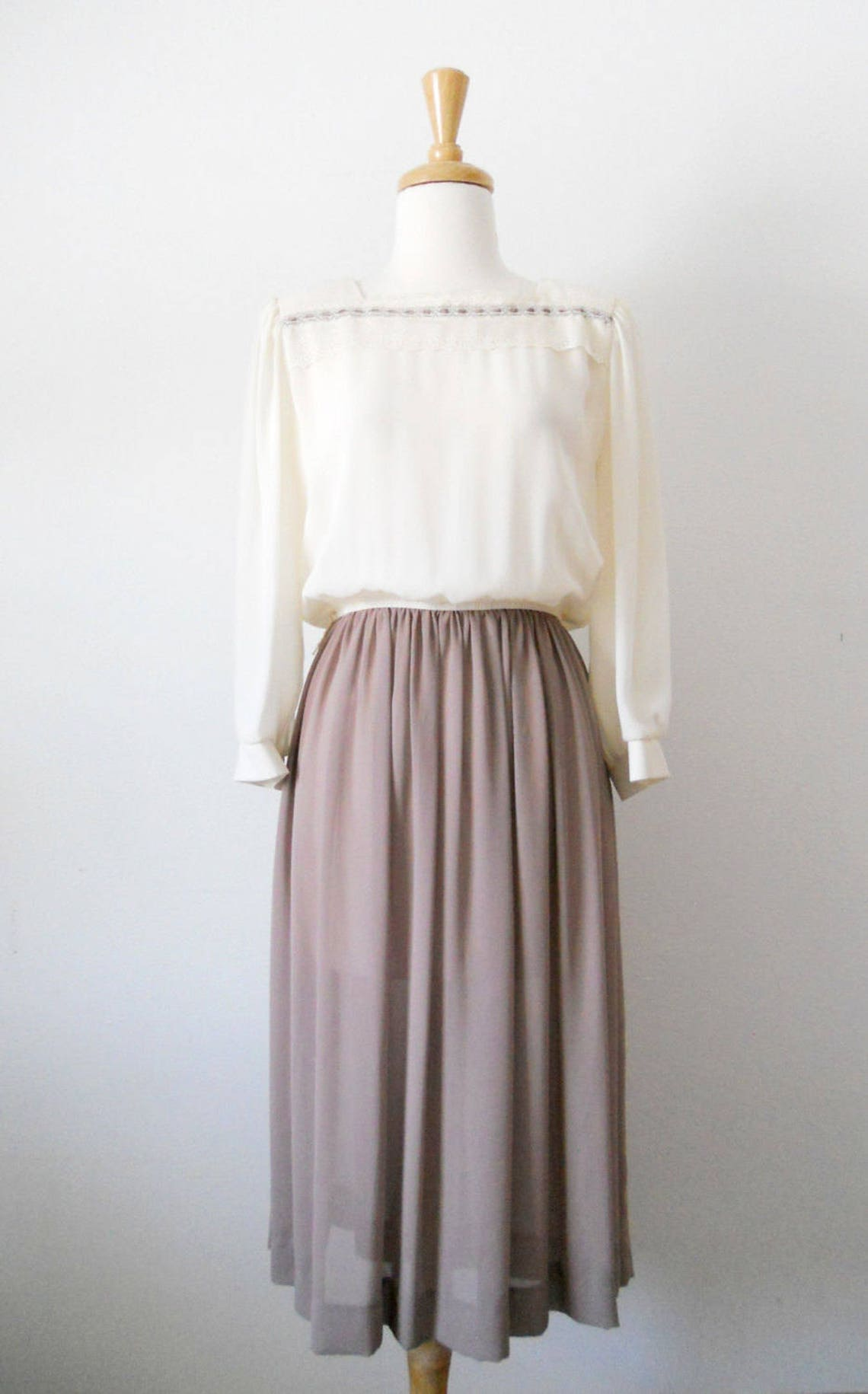 Vintage Leslie Fay Sheer Full Length Dress with Long Sleeves