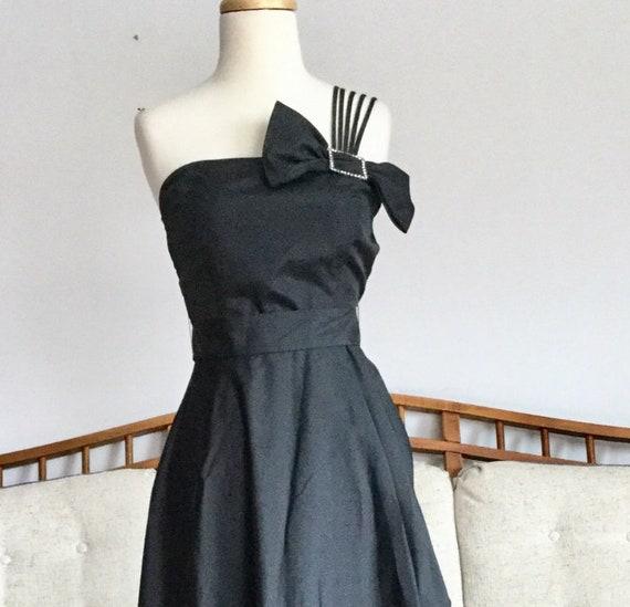 Vintage 1980s Black One Shoulder Ball Gown Evening