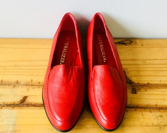 Vintage Naturalizer Hot Red Leather Flats Loafers Size 7 M
