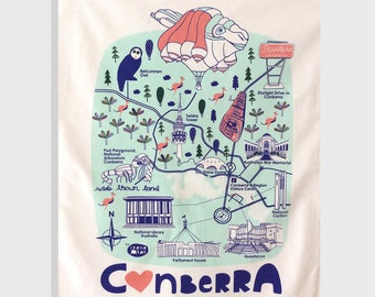 100% Cotton Screen Printed Canberra Map Tea Towel, Canberra, Souvenir, Cotton Tea Towel, Skywhale, Canberra Icons
