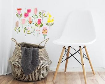 Reusable Fabric Wall Decals, Australiana Flora, Protea, Eucalyptus, Flowers, Gift Ideas, Home Decor, Kids Room