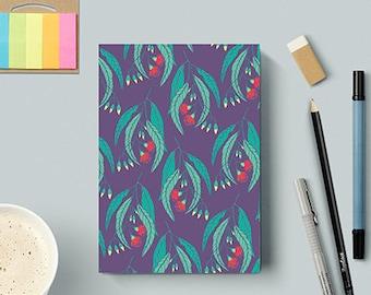 Notebook Sketchbook / Eucalyptus / Australiana Floral Fauna / Dark Purple / 40 blank sheets 80gsm / Sketching / Drawing