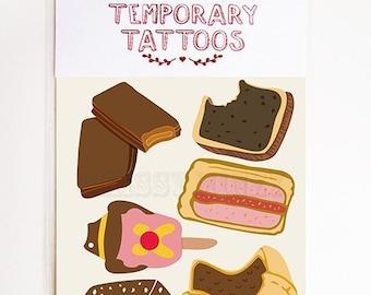 Temporary Tattoos / Tim Tam / Meat Pie / Lamington / Vegemite / BubbleOBill / Souvenir / Australian / Stocking Stuffer / For Fun