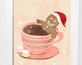 Gingerbread Boy / Christmas Card / Greeting Card / Merry Christmas / Humour / Fun / 5x7