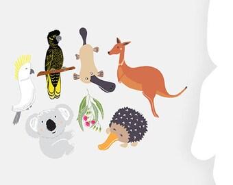 Reusable Fabric Wall Decals, Australiana Animals, Yellow-tailed Black Cockatoo, Sulphur-crested Cockatoo, Gift Ideas, Kids Room