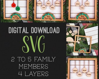 2-10 Member Family FRAME Set + Easel|9 SVG combos|Glowforge and Laser Cutting