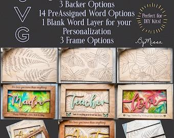 Feminine Gift Frame Set + Easel| 14 Word Layer Options, 3 Frame & 3 Backer Options| Glowforge and Laser Cutting
