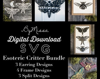Esoteric Critter BUNDLE   Splits, Earrings, & Frames   SVG   Glowforge and Laser Cutting