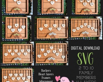2-10 HEARTS Member Family FRAME Set + Easel|9 SVG combos|Glowforge and Laser Cutting
