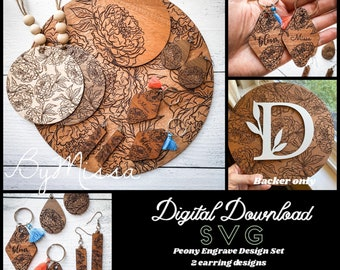 Peony Floral Design Set  8 SVGs  Glowforge and Laser Cutting